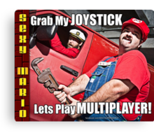 SexyMario MEME - Grab My Joystick, Lets Play Multiplayer! 2 Canvas Print