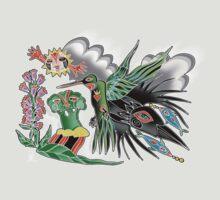 hummingbird and crow by arteology