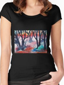 Inktense Trees Women's Fitted Scoop T-Shirt