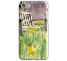 Bench in daffodils  iPhone Case/Skin