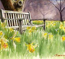 Bench in daffodils  by bakuma