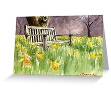 Bench in daffodils  Greeting Card