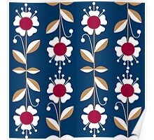 Ornate seamless pattern with the leaves and flowers cute modern Poster