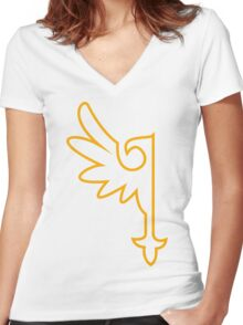 Golden One-Winged Eagle Women's Fitted V-Neck T-Shirt