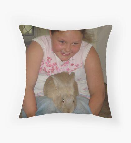 HONEY the bunny Throw Pillow