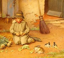 CHARLES EDWARD WILSON (1891-1936) Feeding the Pets c. 1890, England by Adam Asar