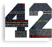 Hitchhiker's Guide 42 Quotes Metal Print