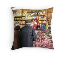 At the delicatessen stall, Perugia's covered market, Umbria, Italy Throw Pillow