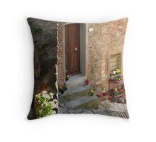 Steep street & front door, Passignano sul Trasimeno, Umbria, Italy Throw Pillow
