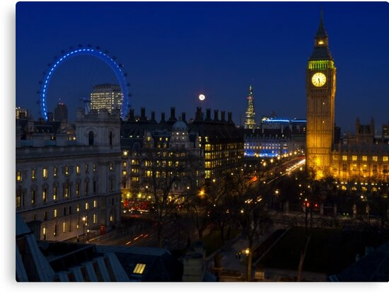 London eye and Big Ben by night, London, England by GrahamCSmith