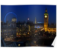 London eye and Big Ben by night, London, England Poster