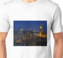 London eye and Big Ben by night, London, England Unisex T-Shirt