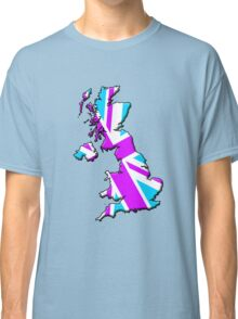 British flag and outline (Pink & Blue) Classic T-Shirt