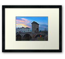 Monnow bridge, Monmouth, Wales, at sunset Framed Print