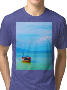 boat in peaceful sea and blue sky Tri-blend T-Shirt
