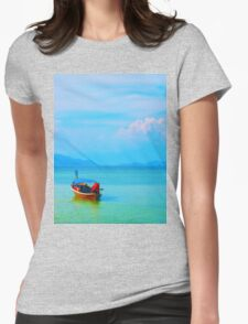 boat in peaceful sea and blue sky Womens Fitted T-Shirt