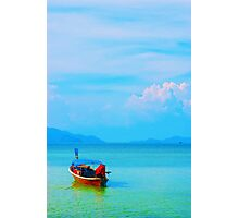 boat in peaceful sea and blue sky Photographic Print