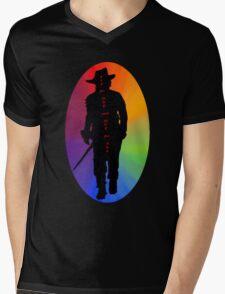 Athos Rainbow Illustration - Musketeer Motto Mens V-Neck T-Shirt
