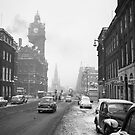 Vintage view of Princes Street Edinburgh in the snow by tayforth