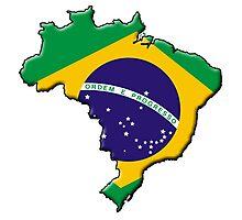 Brazilian flag & outline Photographic Print