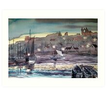"""Whitby Harbour at Twilight"" Art Print"