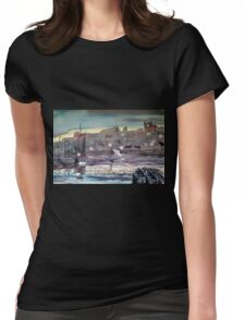 """""""Whitby Harbour at Twilight"""" Womens Fitted T-Shirt"""