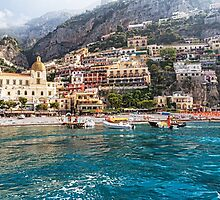 Positano Beach From the Sea by George Oze