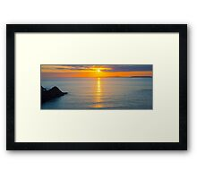 beautiful panoramic yellow sunset over loop head Framed Print