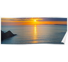 beautiful panoramic yellow sunset over loop head Poster