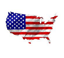 USA Flag Country Outline by MarkUK97