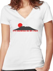 It's Snowing On Mt. Fuji Women's Fitted V-Neck T-Shirt