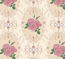 Beautiful seamless pink rose pattern with baroque ornamental by fuzzyfox