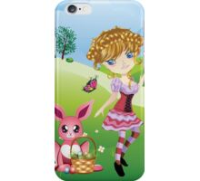 Easter Bunny and Girl iPhone Case/Skin