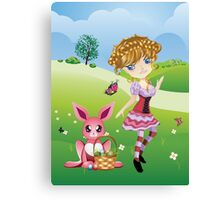 Easter Bunny and Girl Canvas Print