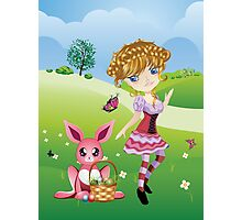 Easter Bunny and Girl Photographic Print