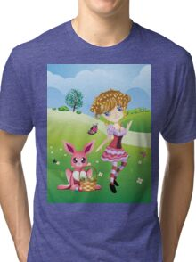 Easter Bunny and Girl Tri-blend T-Shirt