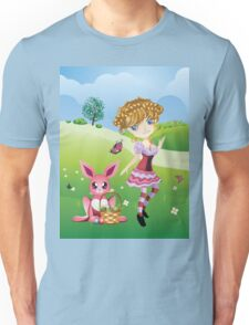 Easter Bunny and Girl Unisex T-Shirt