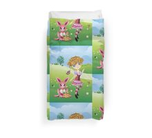 Easter Bunny and Girl Duvet Cover