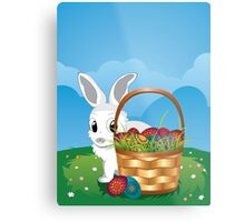 Easter Bunny with Eggs in the Basket 2 Metal Print