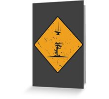 Wile E Coyote Damaged warning Greeting Card