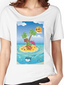 Shark and Tropic Island Women's Relaxed Fit T-Shirt