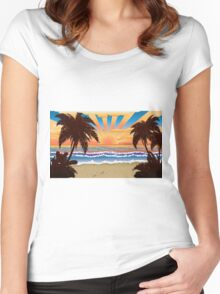 Sunset on beach  Women's Fitted Scoop T-Shirt