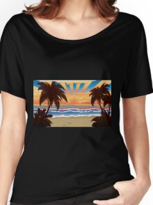 Sunset on beach  Women's Relaxed Fit T-Shirt