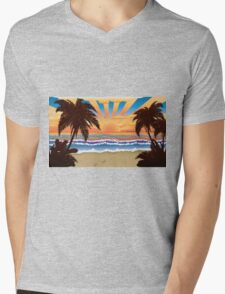 Sunset on beach  Mens V-Neck T-Shirt