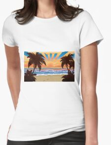 Sunset on beach  Womens Fitted T-Shirt