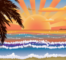 Sunset on beach  Sticker