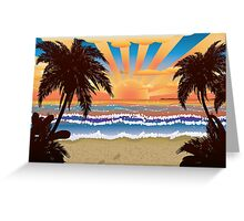 Sunset on beach  Greeting Card