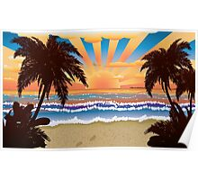 Sunset on beach  Poster