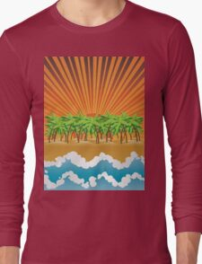 Sunset on tropical beach 3 Long Sleeve T-Shirt