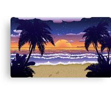 Sunset on beach 2 Canvas Print